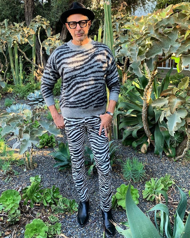 Jeff Goldblum standing in a backyard full of plants. He is wearing a zebra-printed sweater with matching pants and a black hat