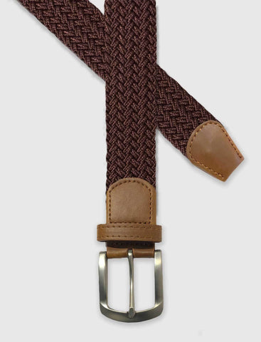 a brown stretch belt with woven detailing