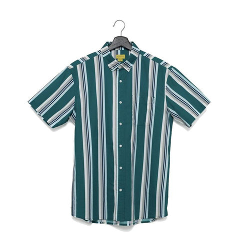 A men's green and blue vertically-striped short-sleeve button up shirt