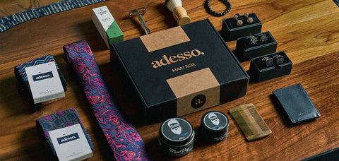 The Adesso man box features a blend of accessories, skincare, and grooming products