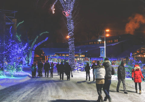A group of people walking down a snow covered path surrounded by twinkling lights