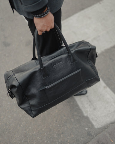 All adesso man leather bags, including our sleek black leather duffle bags, are 40% off