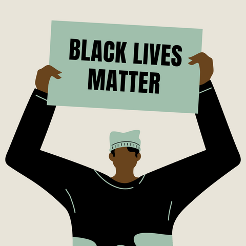 Illustration of a person holding a Black Lives Matter sign.