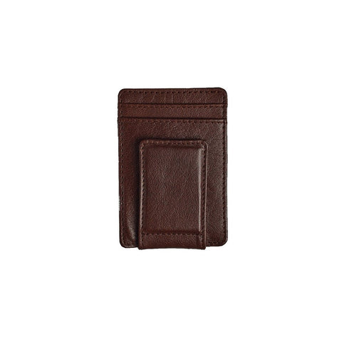 A dark brown leather moneyclip cardholder