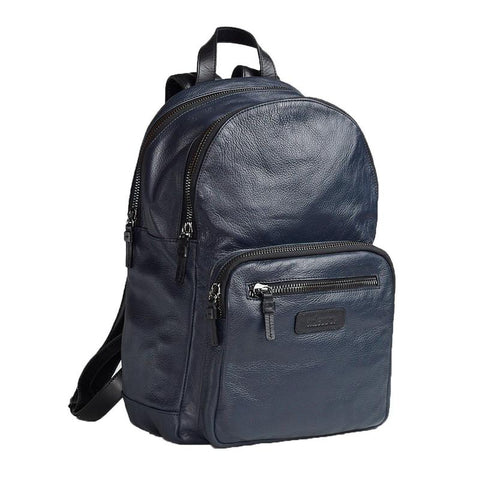 a navy leather backpack