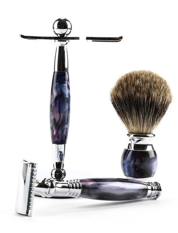 Our 3 piece shaving set in our custom swirly purple finish featuring a safety razor, shaving brush, and stand