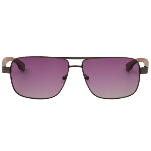 Sunglasses with pink lenses.