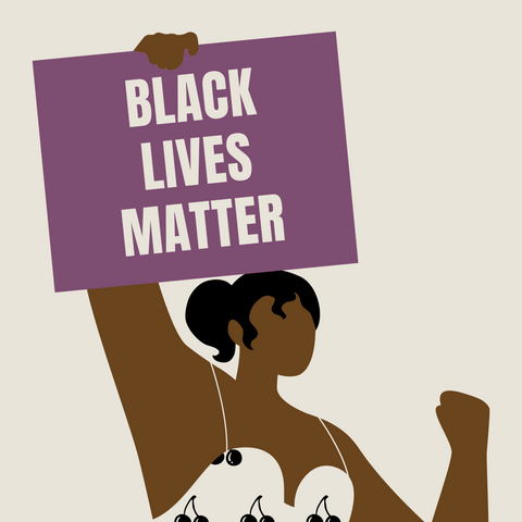 Illustration of a woman holding a Black Lives Matter sign.