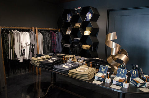 A corner of the store is dedicated to casual, weekender style clothing including Canadian designed The Daily chinos. Photograph by Fraser Tripp