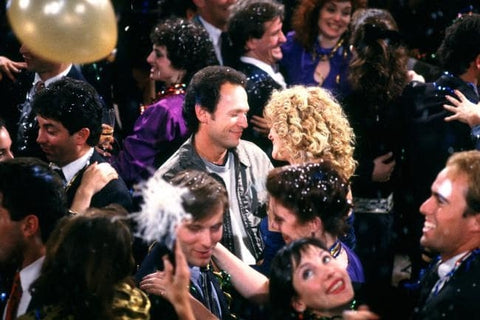 Billy Crystal and Meg Ryan during the New Year's Eve scene in When Harry Met Sally