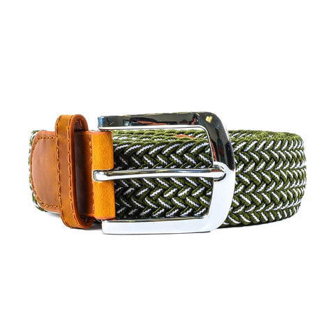 Green & White Mix Stretch Belt