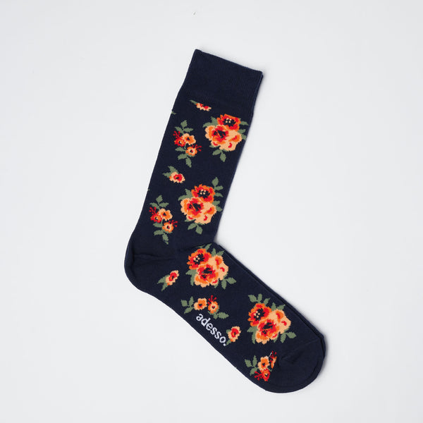 Navy Floral Patterned Socks