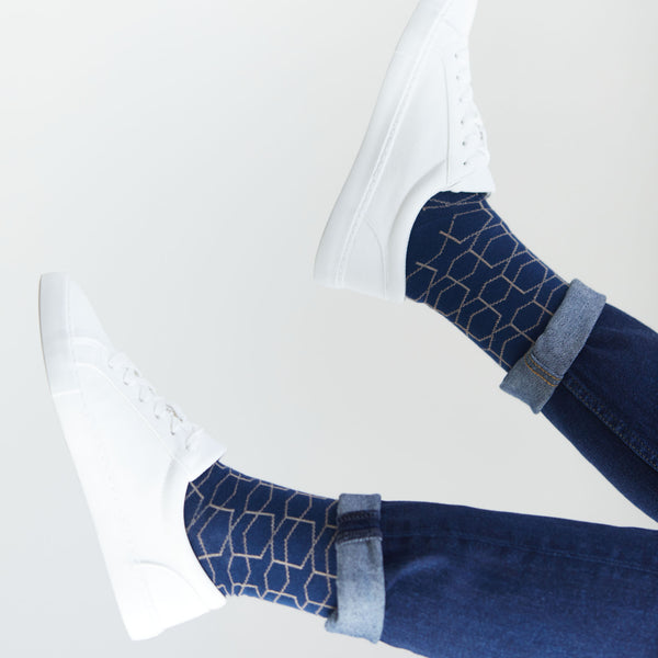 Blue Hexagon Socks