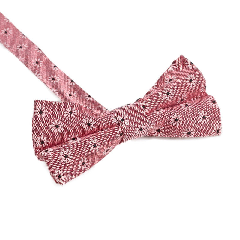 Salmon Floral Bow Tie