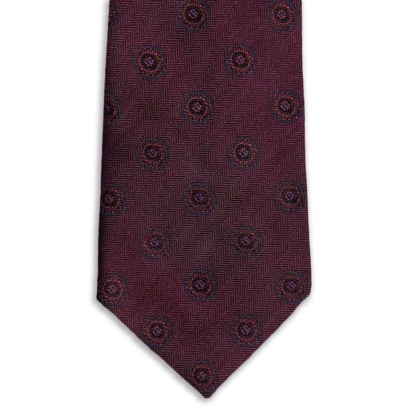 Burgundy Medallion Necktie Neckties Adesso Accessories