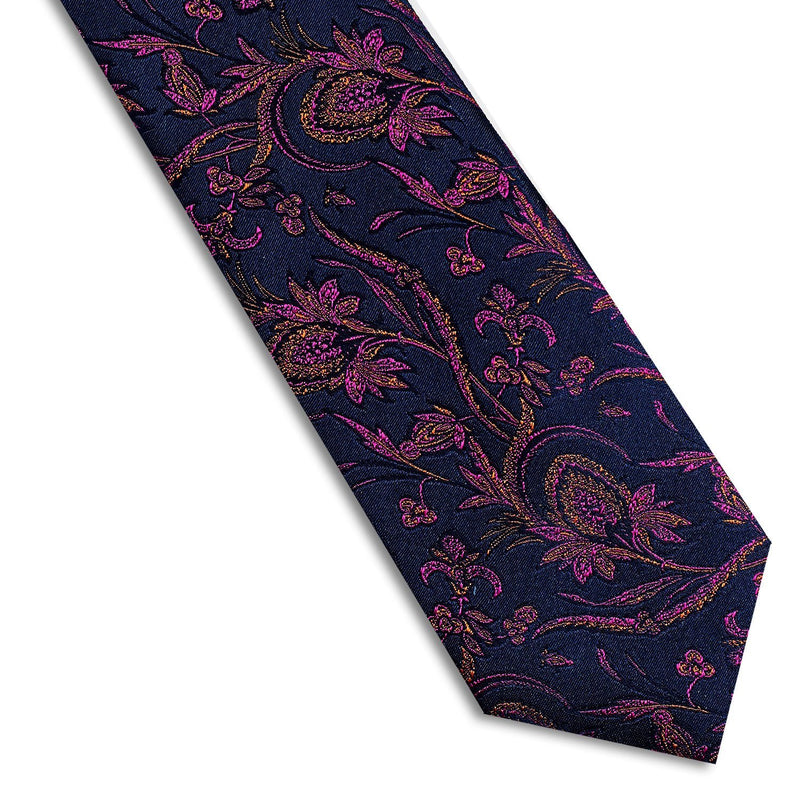 Purple & Orange Floral Necktie