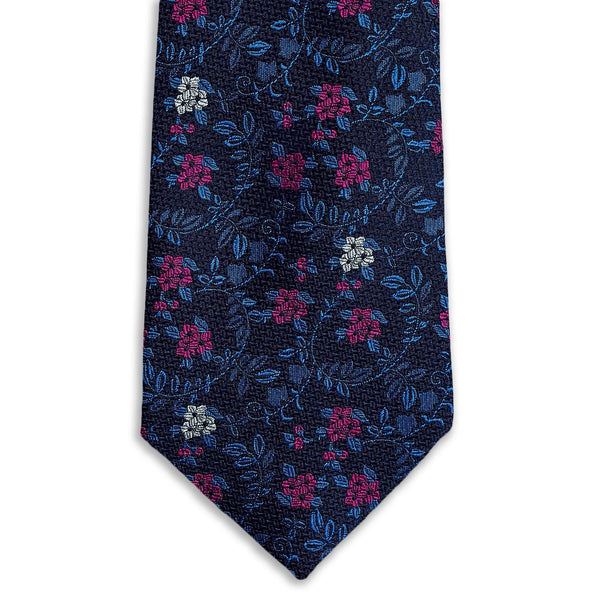 Micro Blue & Pink Floral Necktie Neckties Adesso Accessories