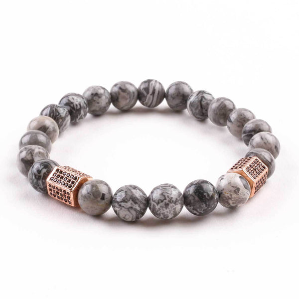 Rose Gold Grey Jasper Bracelet Bracelets Adesso Accessories
