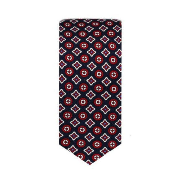 Vintage Medallion Red & Blue Tie