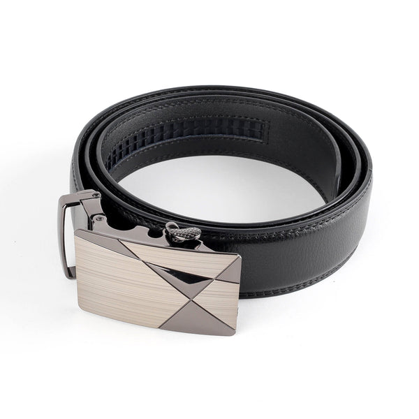 Geometric Buckle Leather Belt