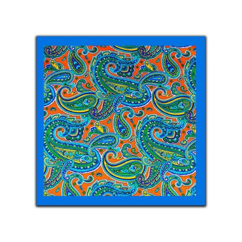 Blue & Orange Paisley Pocket Square