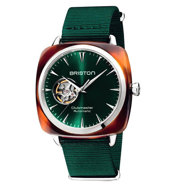 Clubmaster Iconic Acetate - Open - Tortoise & Green Sunray Watches Briston