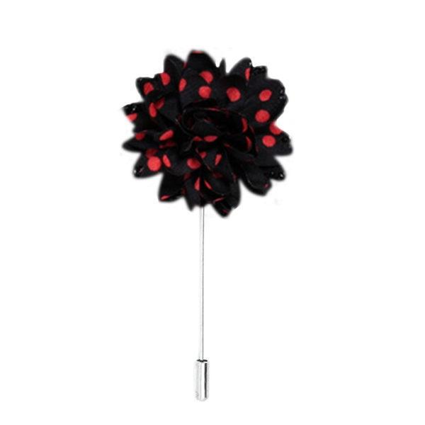 Black & Red Polka Dot Flower Pin