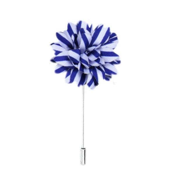 Blue & White Striped Flower Pin