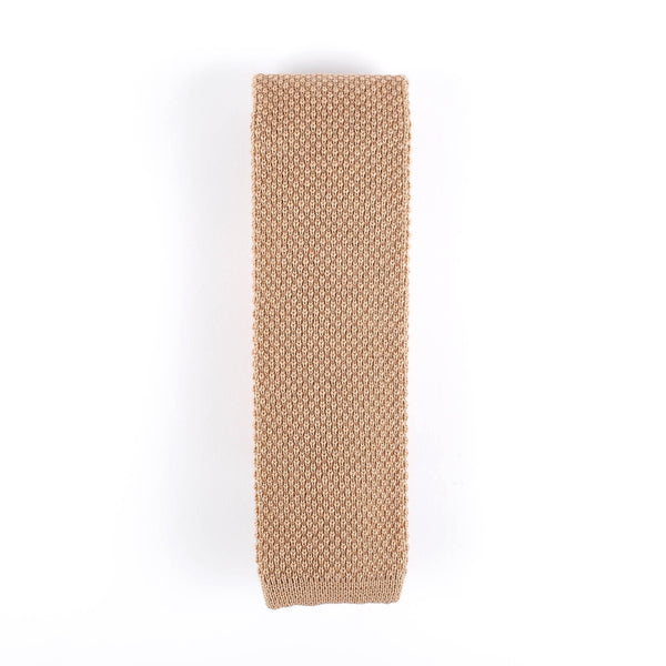 Beige Knit Italian Tie Neckties Sirocco Fan Accessories