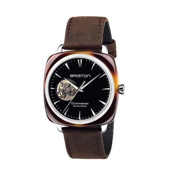 Clubmaster Iconic Acetate - Open - Tortoise, Black Dial, Leather Strap Watches Briston