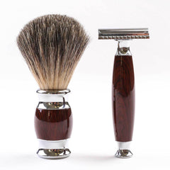 2 Piece Grooming Set Dark Wood