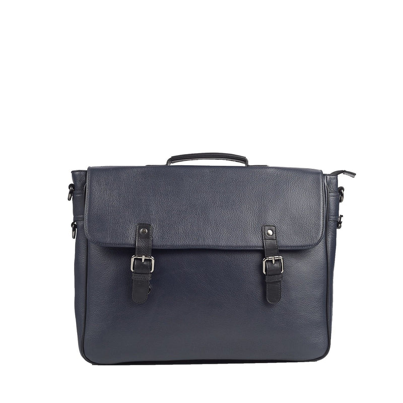 Signature Navy Blue and Black Leather Briefcase Leather Goods Adesso Accessories