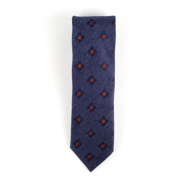 Blue and Brown Diamond Italian Necktie