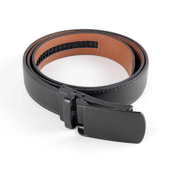 Flat Buckle Leather Ratchet Belt Belts Adesso Accessories