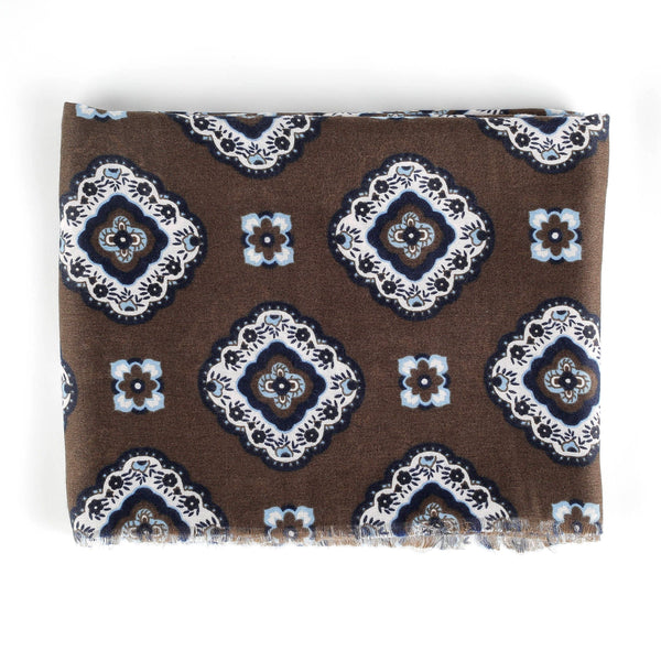 Italian Scarves Scarves Sirocco Fan Accessories Brown White Blue