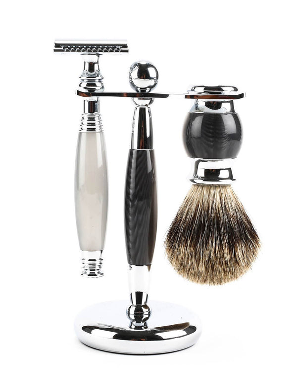 3 Pc Black & Grey Resin Safety Razor Set Grooming Supplies Adesso Accessories