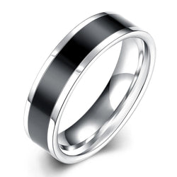 Black Band Stainless Steel Ring