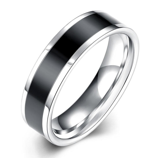 Black Band Stainless Steel Ring Rings Adesso Accessories