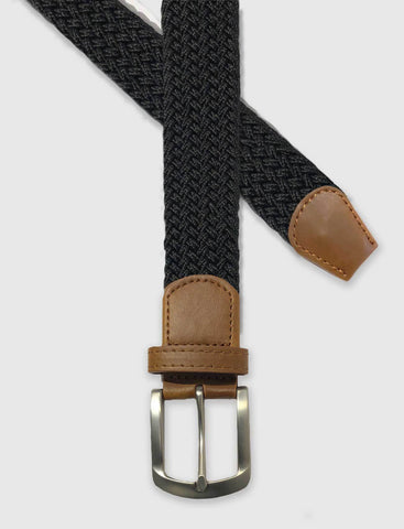 Black Braided Weave Stretch Belt