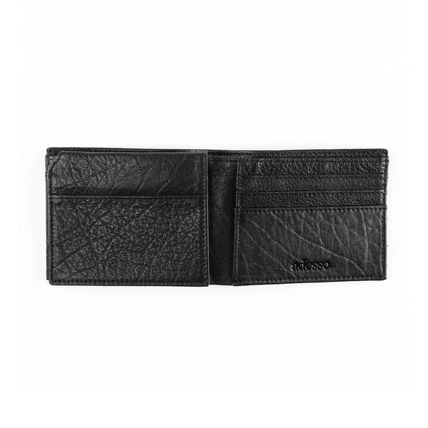 Black Signature Stripe Bi-Fold Leather Wallet Leather Goods Adesso Accessories