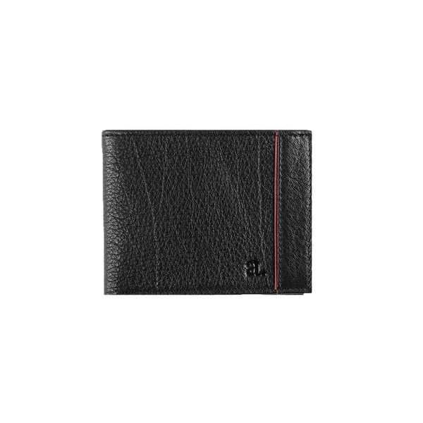 Black Signature Stripe Bi-Fold Leather Wallet