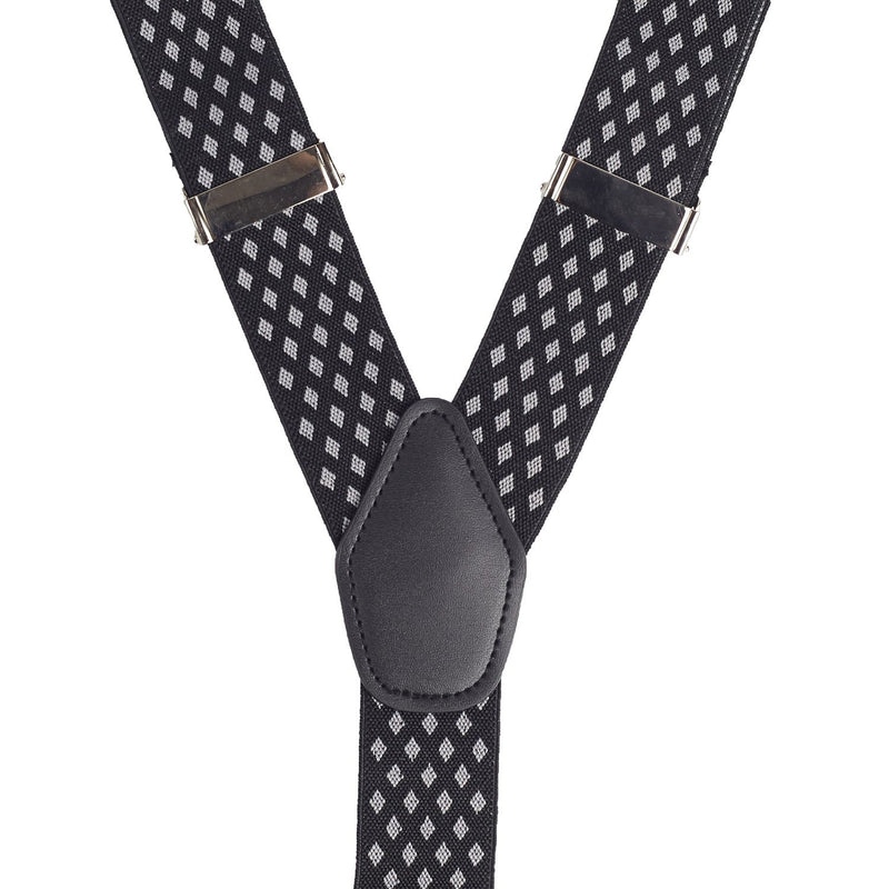 Black w/ Grey Diamond Suspenders