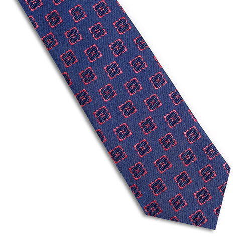 Classic Red and Blue Floral Motif Tie