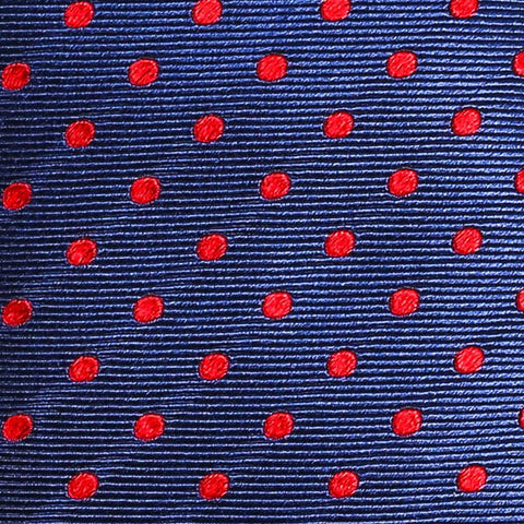Navy and Red Polka Dot Tie