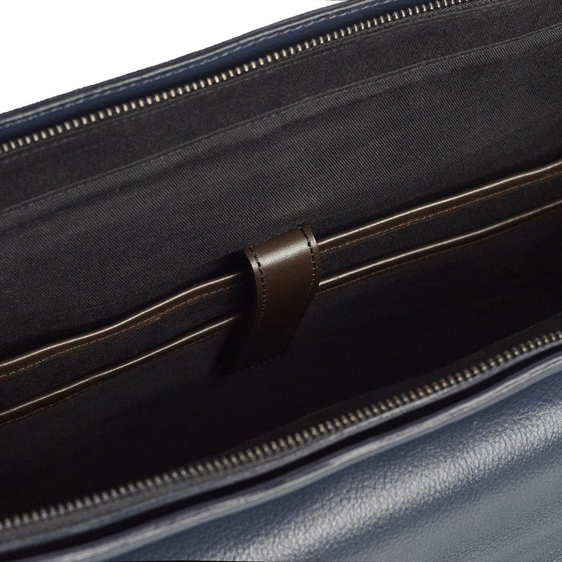 Signature Indigo and Brown Leather Briefcase Leather Goods Adesso Accessories