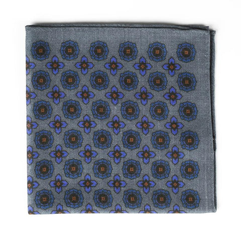 Grey Wool Medallion Pocket Square