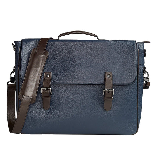 Signature Indigo and Brown Leather Briefcase