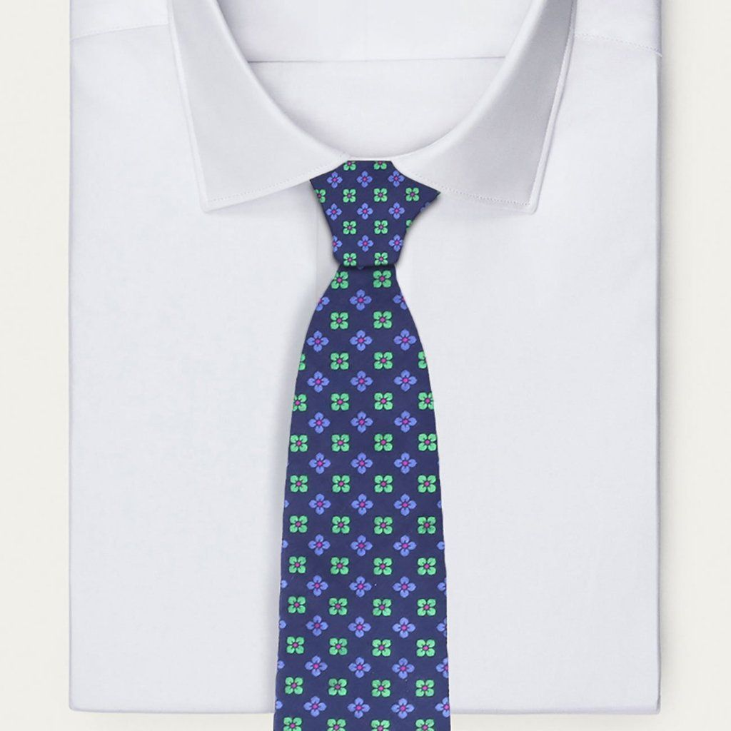 Classic Indigo and Green Floral Tie
