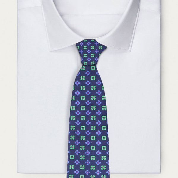 Classic Indigo and Green Floral Tie Neckties Sirocco Fan Accessories