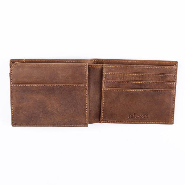 Saddle Leather Brown Striped Wallet Leather Goods Adesso Accessories
